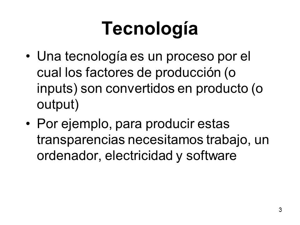 3 Tecnología Una tecnología es un proceso por el cual los factores de producción (o inputs) son convertidos en producto (o output) Por ejemplo, para p