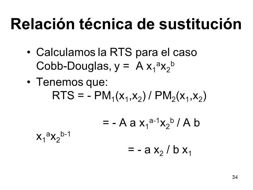 34 Relación técnica de sustitución Calculamos la RTS para el caso Cobb-Douglas, y = A x 1 a x 2 b Tenemos que: RTS = - PM 1 (x 1,x 2 ) / PM 2 (x 1,x 2
