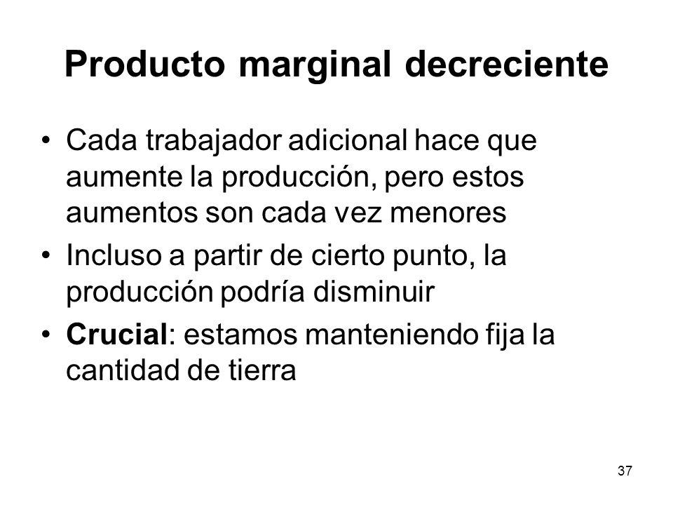 37 Producto marginal decreciente Cada trabajador adicional hace que aumente la producción, pero estos aumentos son cada vez menores Incluso a partir d