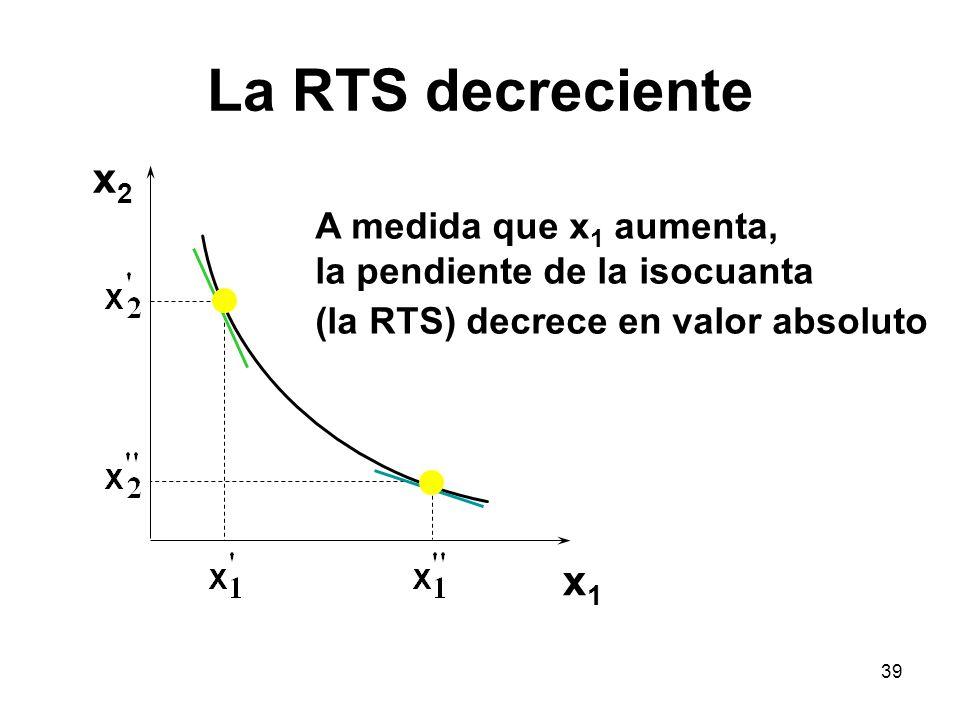 39 La RTS decreciente x2x2 x1x1 A medida que x 1 aumenta, la pendiente de la isocuanta (la RTS) decrece en valor absoluto