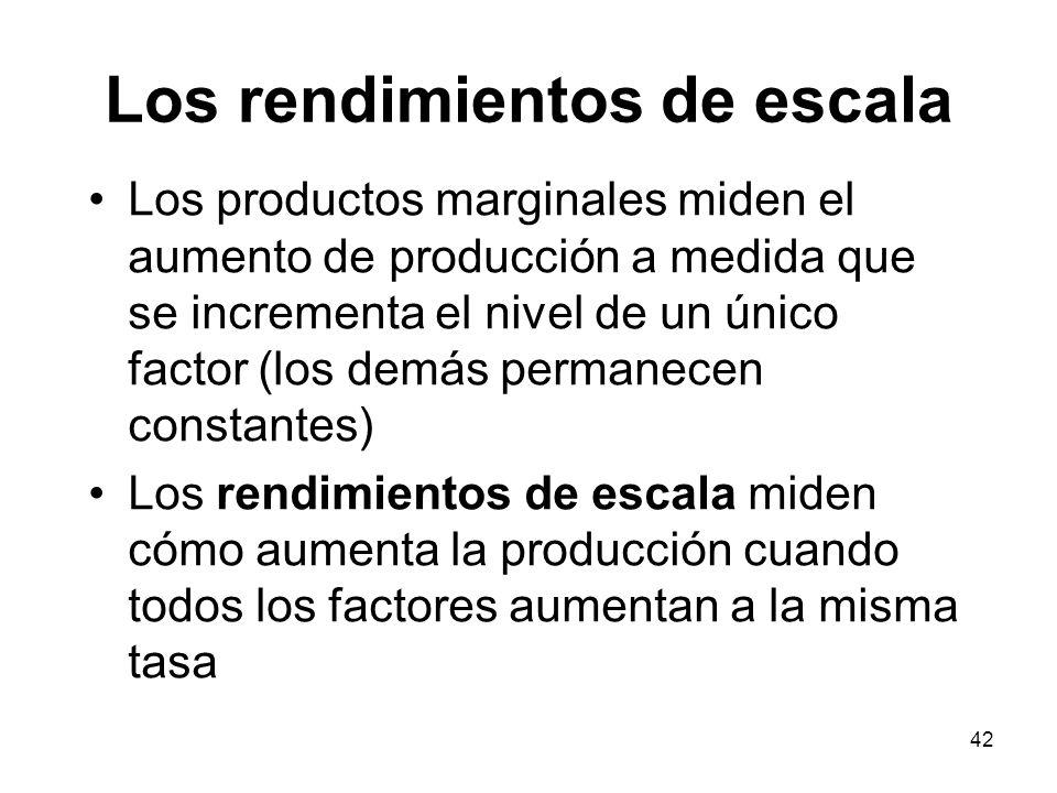 42 Los rendimientos de escala Los productos marginales miden el aumento de producción a medida que se incrementa el nivel de un único factor (los demá