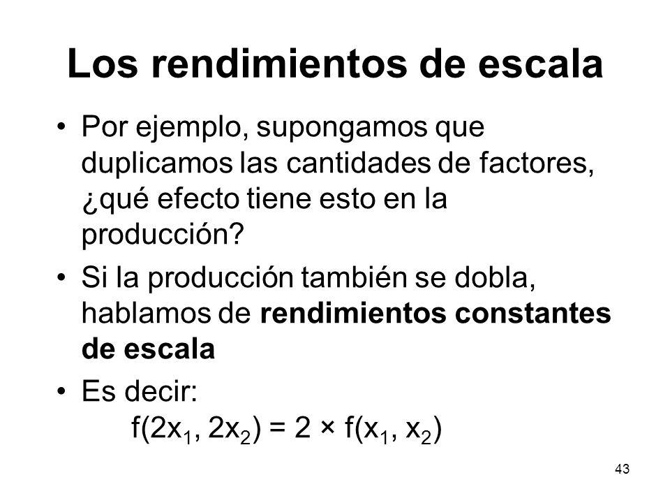 43 Los rendimientos de escala Por ejemplo, supongamos que duplicamos las cantidades de factores, ¿qué efecto tiene esto en la producción? Si la produc