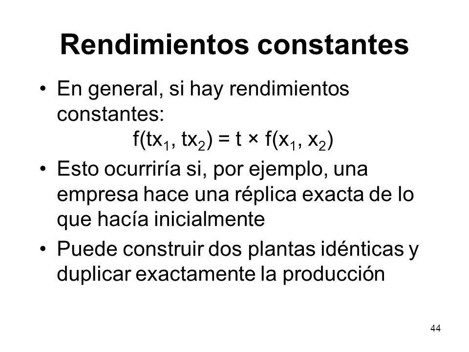 44 Rendimientos constantes En general, si hay rendimientos constantes: f(tx 1, tx 2 ) = t × f(x 1, x 2 ) Esto ocurriría si, por ejemplo, una empresa h