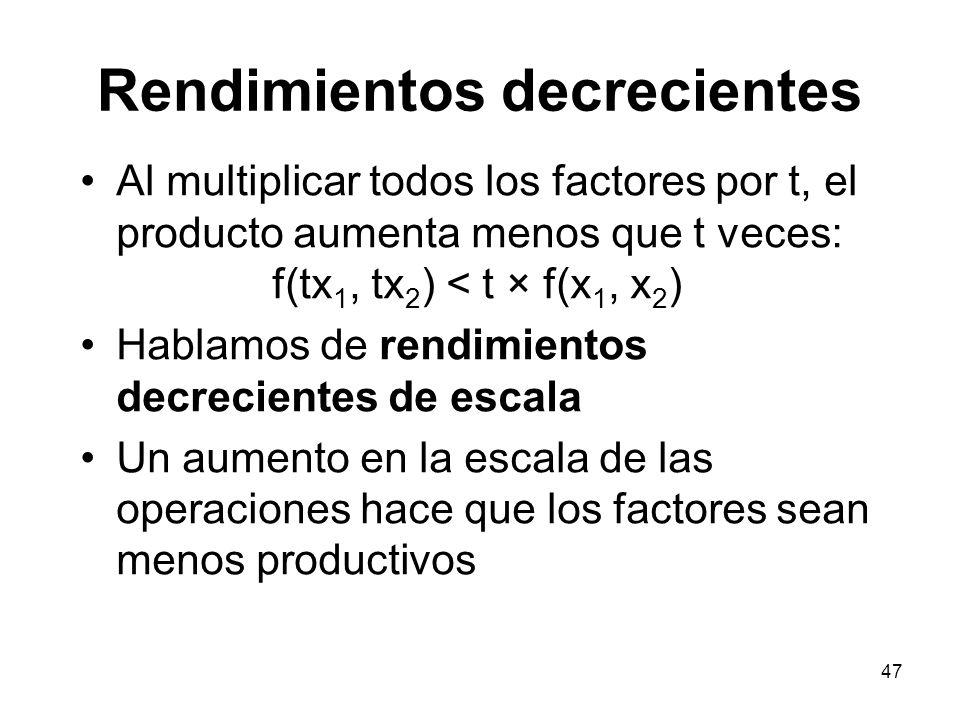 47 Rendimientos decrecientes Al multiplicar todos los factores por t, el producto aumenta menos que t veces: f(tx 1, tx 2 ) < t × f(x 1, x 2 ) Hablamo