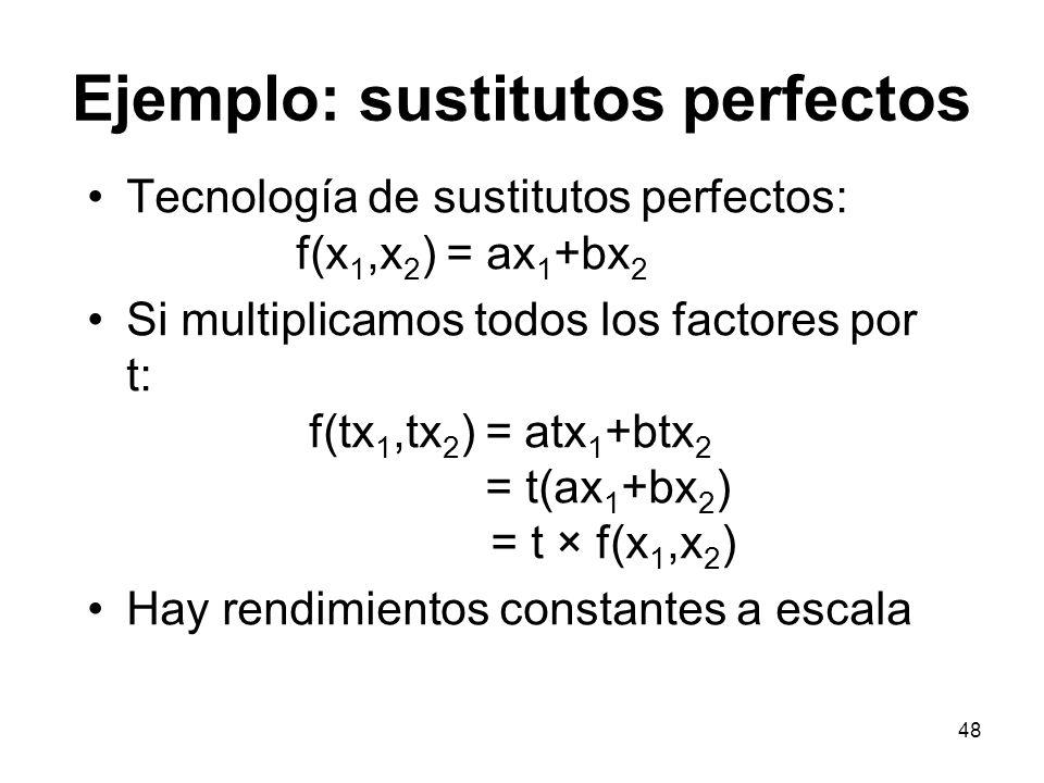 48 Ejemplo: sustitutos perfectos Tecnología de sustitutos perfectos: f(x 1,x 2 ) = ax 1 +bx 2 Si multiplicamos todos los factores por t: f(tx 1,tx 2 )