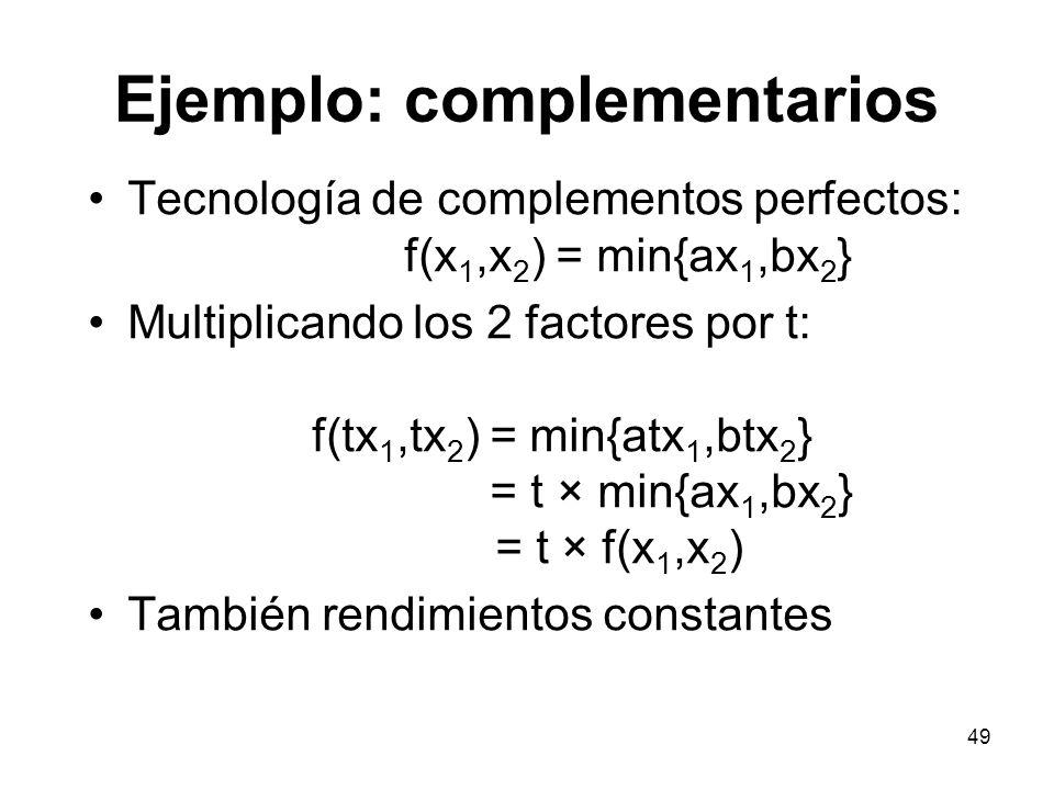 49 Ejemplo: complementarios Tecnología de complementos perfectos: f(x 1,x 2 ) = min{ax 1,bx 2 } Multiplicando los 2 factores por t: f(tx 1,tx 2 ) = mi