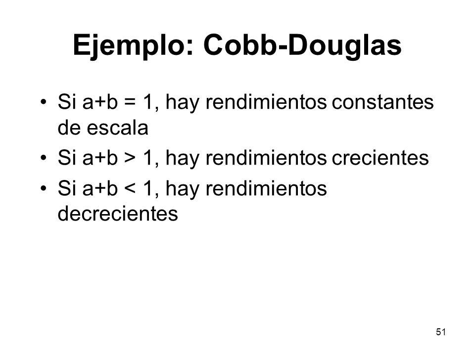 51 Ejemplo: Cobb-Douglas Si a+b = 1, hay rendimientos constantes de escala Si a+b > 1, hay rendimientos crecientes Si a+b < 1, hay rendimientos decrec