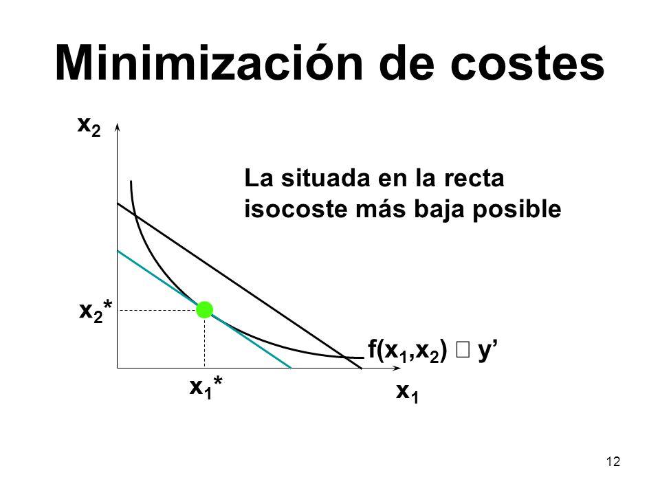 12 Minimización de costes x1x1 x2x2 f(x 1,x 2 ) y x1*x1* x2*x2* La situada en la recta isocoste más baja posible