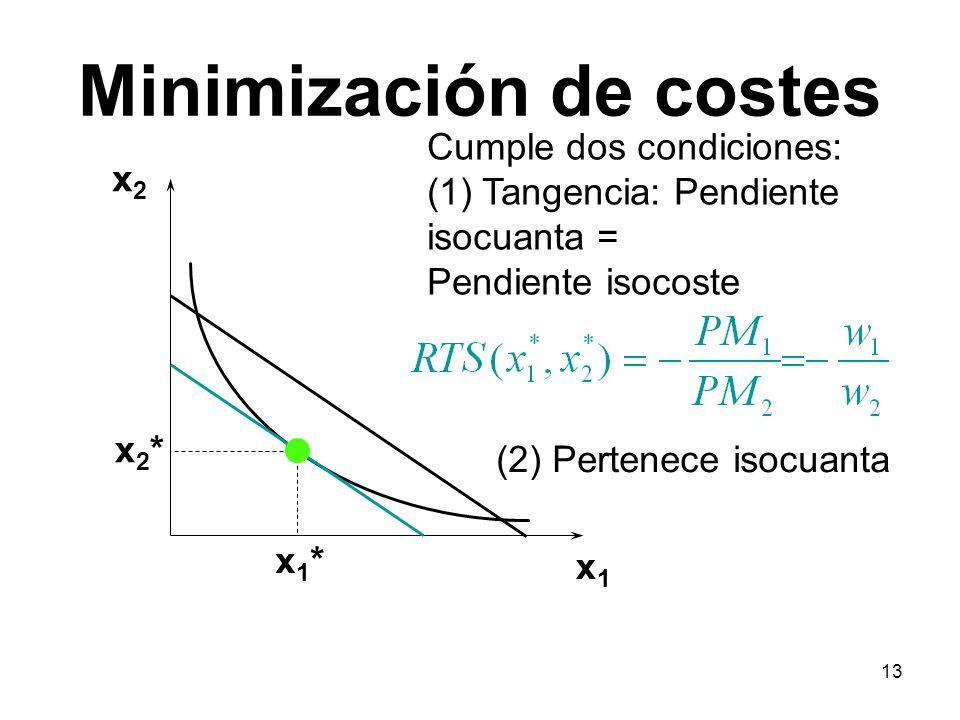 13 Minimización de costes x1x1 x2x2 x1*x1* x2*x2* Cumple dos condiciones: (1) Tangencia: Pendiente isocuanta = Pendiente isocoste (2) Pertenece isocua