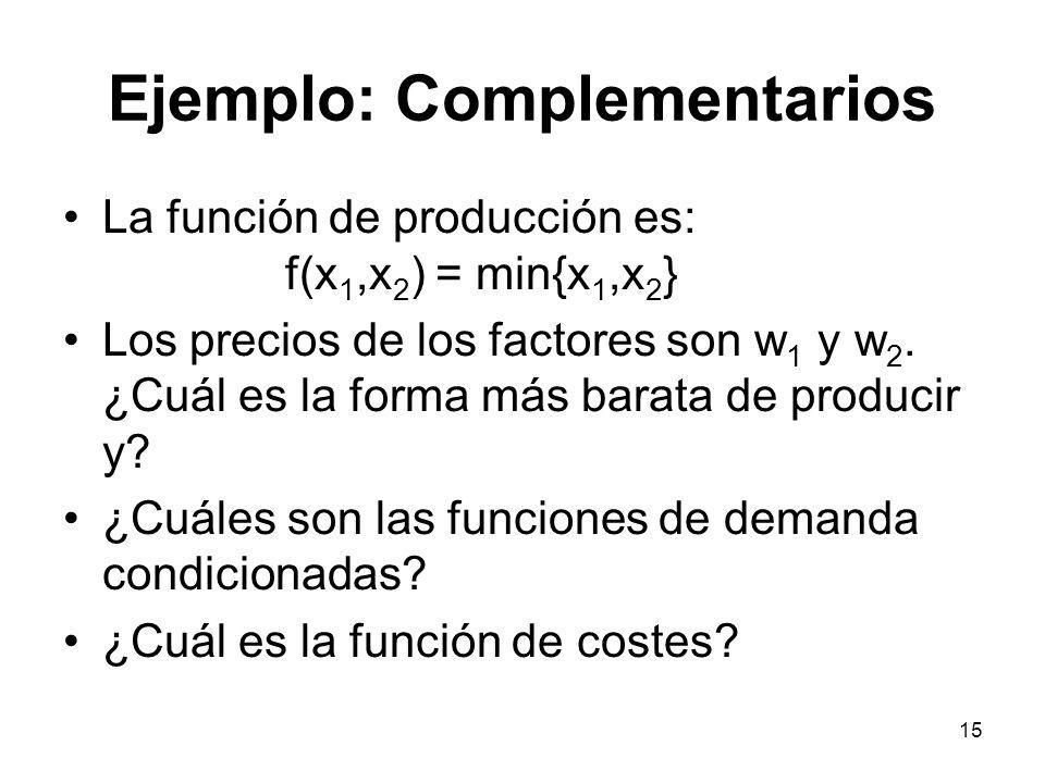 15 Ejemplo: Complementarios La función de producción es: f(x 1,x 2 ) = min{x 1,x 2 } Los precios de los factores son w 1 y w 2. ¿Cuál es la forma más