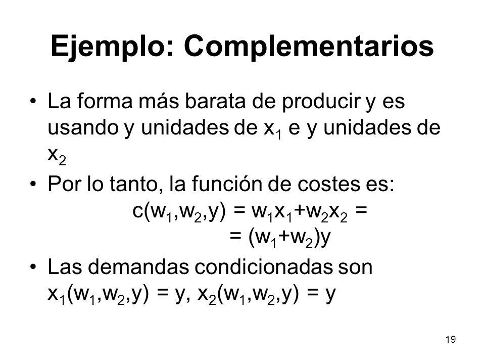 19 Ejemplo: Complementarios La forma más barata de producir y es usando y unidades de x 1 e y unidades de x 2 Por lo tanto, la función de costes es: c