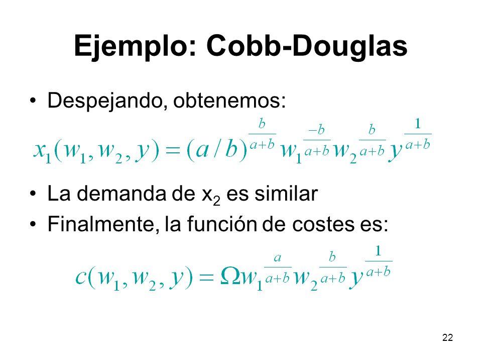 22 Ejemplo: Cobb-Douglas Despejando, obtenemos: La demanda de x 2 es similar Finalmente, la función de costes es: