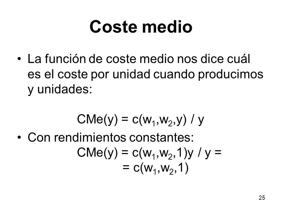 25 Coste medio La función de coste medio nos dice cuál es el coste por unidad cuando producimos y unidades: CMe(y) = c(w 1,w 2,y) / y Con rendimientos