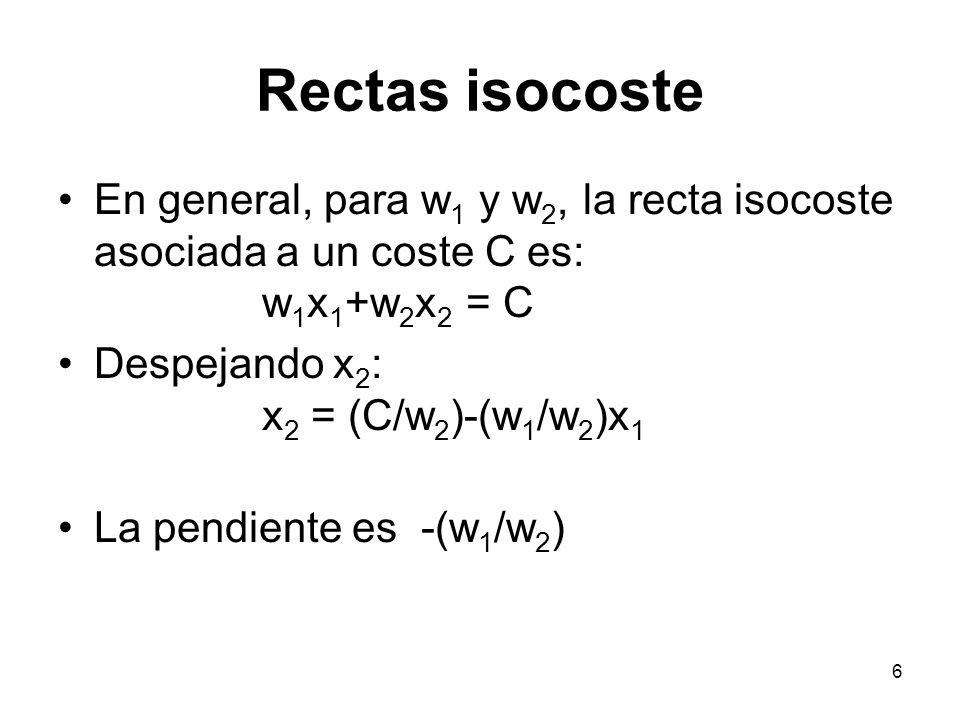 6 Rectas isocoste En general, para w 1 y w 2, la recta isocoste asociada a un coste C es: w 1 x 1 +w 2 x 2 = C Despejando x 2 : x 2 = (C/w 2 )-(w 1 /w