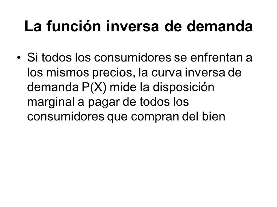 La función inversa de demanda Si todos los consumidores se enfrentan a los mismos precios, la curva inversa de demanda P(X) mide la disposición margin