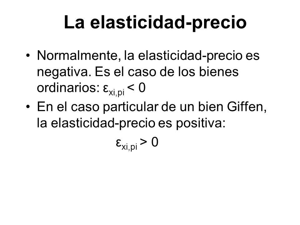 Normalmente, la elasticidad-precio es negativa. Es el caso de los bienes ordinarios: ε xi,pi < 0 En el caso particular de un bien Giffen, la elasticid