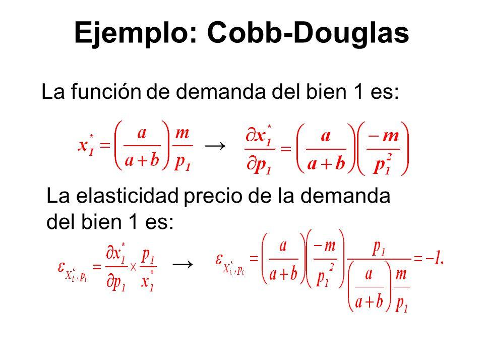 Ejemplo: Cobb-Douglas La función de demanda del bien 1 es: La elasticidad precio de la demanda del bien 1 es: