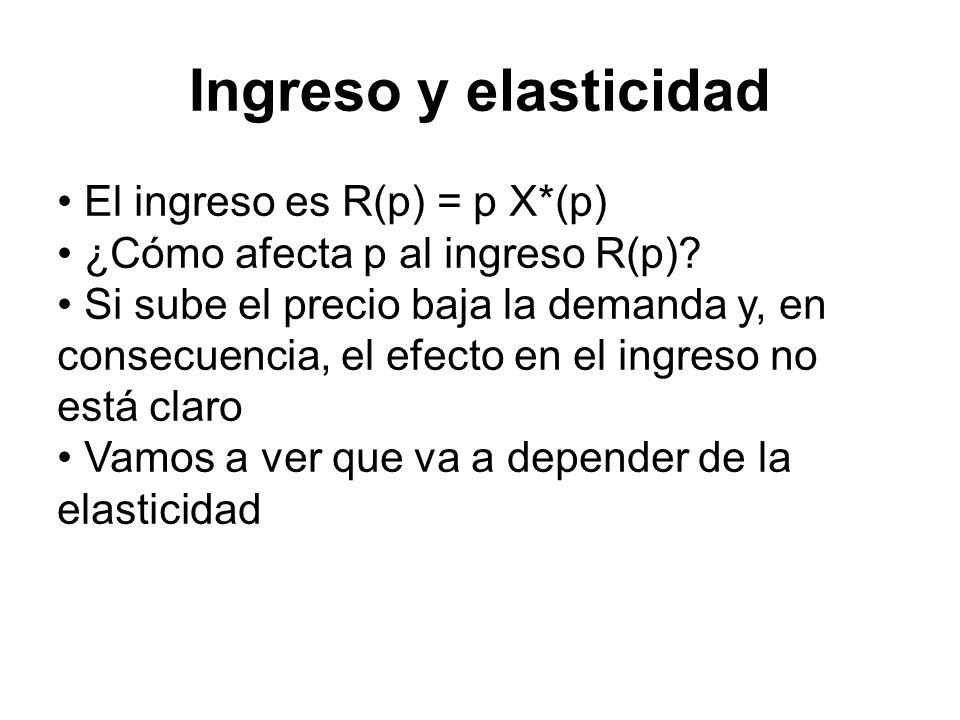 El ingreso es R(p) = p X*(p) ¿Cómo afecta p al ingreso R(p)? Si sube el precio baja la demanda y, en consecuencia, el efecto en el ingreso no está cla