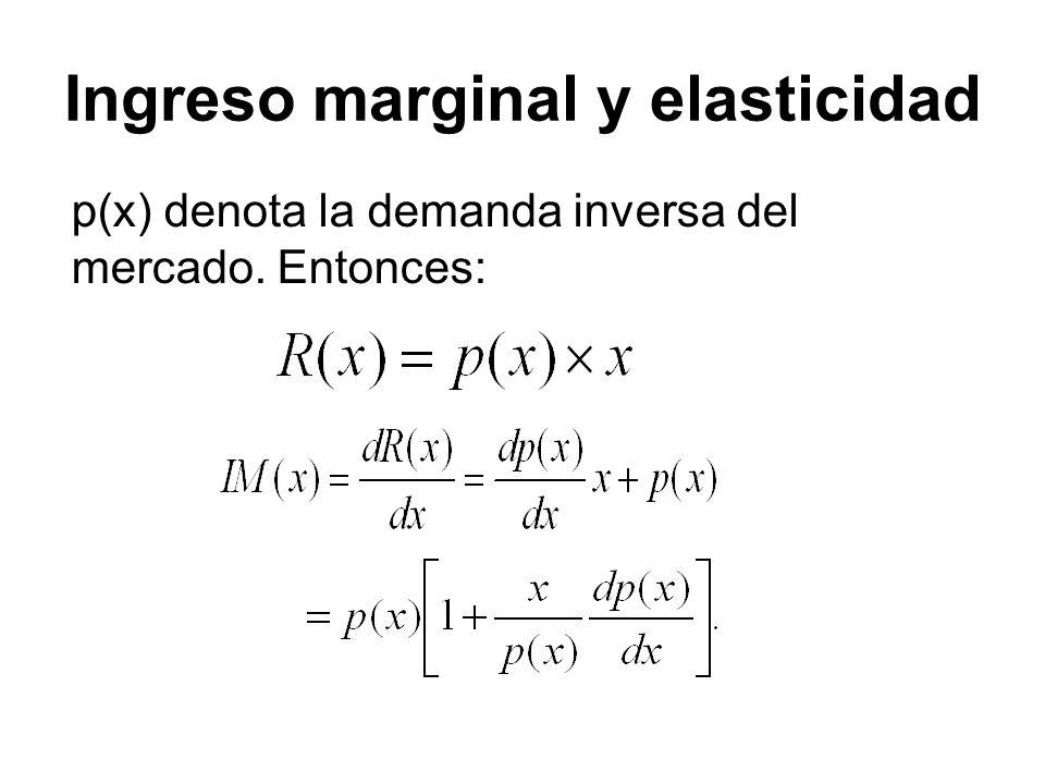 p(x) denota la demanda inversa del mercado. Entonces: Ingreso marginal y elasticidad