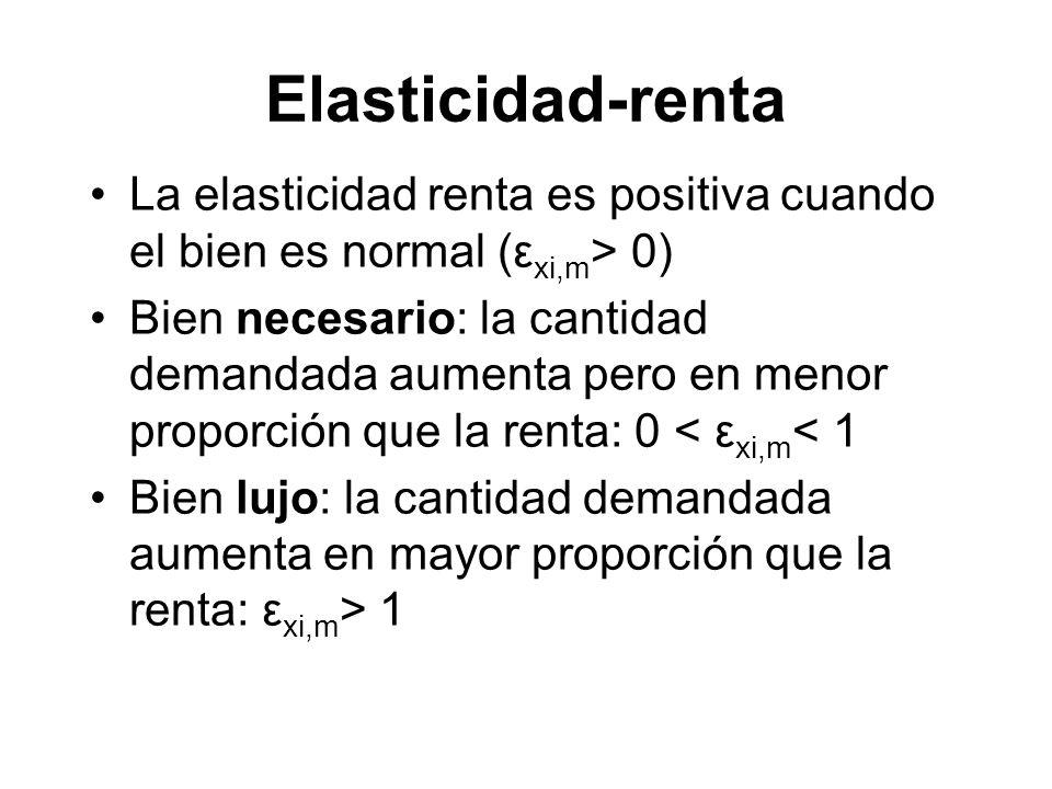 La elasticidad renta es positiva cuando el bien es normal (ε xi,m > 0) Bien necesario: la cantidad demandada aumenta pero en menor proporción que la r