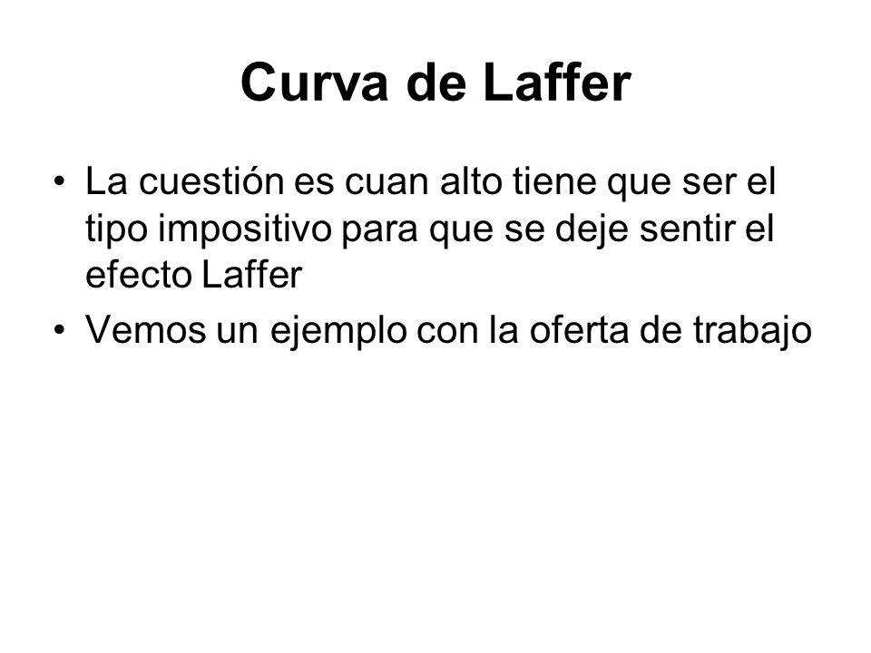 Curva de Laffer La cuestión es cuan alto tiene que ser el tipo impositivo para que se deje sentir el efecto Laffer Vemos un ejemplo con la oferta de t
