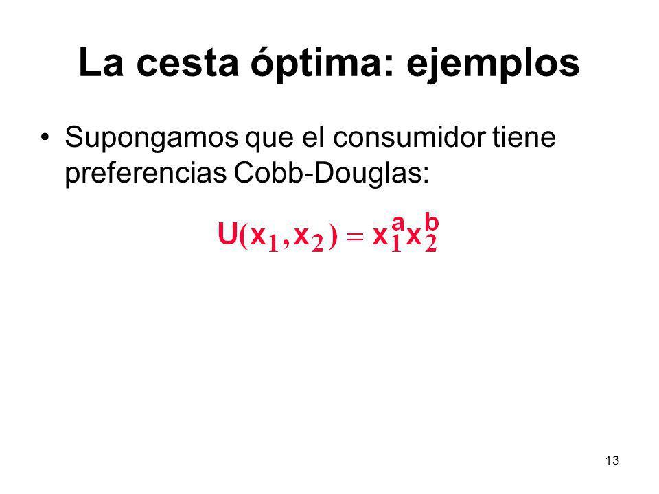 13 La cesta óptima: ejemplos Supongamos que el consumidor tiene preferencias Cobb-Douglas: