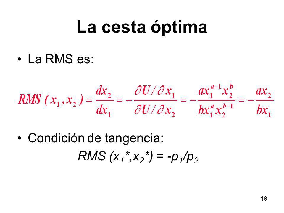 16 La cesta óptima La RMS es: Condición de tangencia: RMS (x 1 *,x 2 *) = -p 1 /p 2