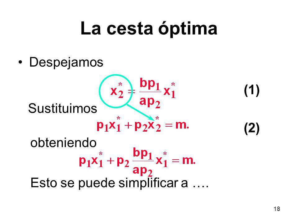 18 La cesta óptima Despejamos (1) (2) Sustituimos obteniendo Esto se puede simplificar a ….