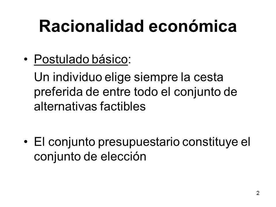 2 Racionalidad económica Postulado básico: Un individuo elige siempre la cesta preferida de entre todo el conjunto de alternativas factibles El conjunto presupuestario constituye el conjunto de elección