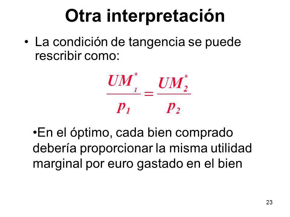 23 Otra interpretación La condición de tangencia se puede rescribir como: En el óptimo, cada bien comprado debería proporcionar la misma utilidad marginal por euro gastado en el bien