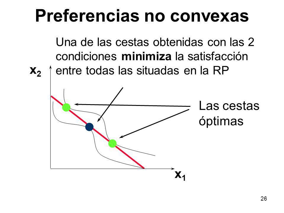 26 Preferencias no convexas x1x1 x2x2 Las cestas óptimas Una de las cestas obtenidas con las 2 condiciones minimiza la satisfacción entre todas las situadas en la RP