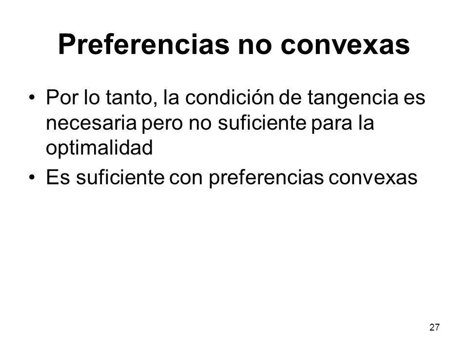27 Preferencias no convexas Por lo tanto, la condición de tangencia es necesaria pero no suficiente para la optimalidad Es suficiente con preferencias convexas
