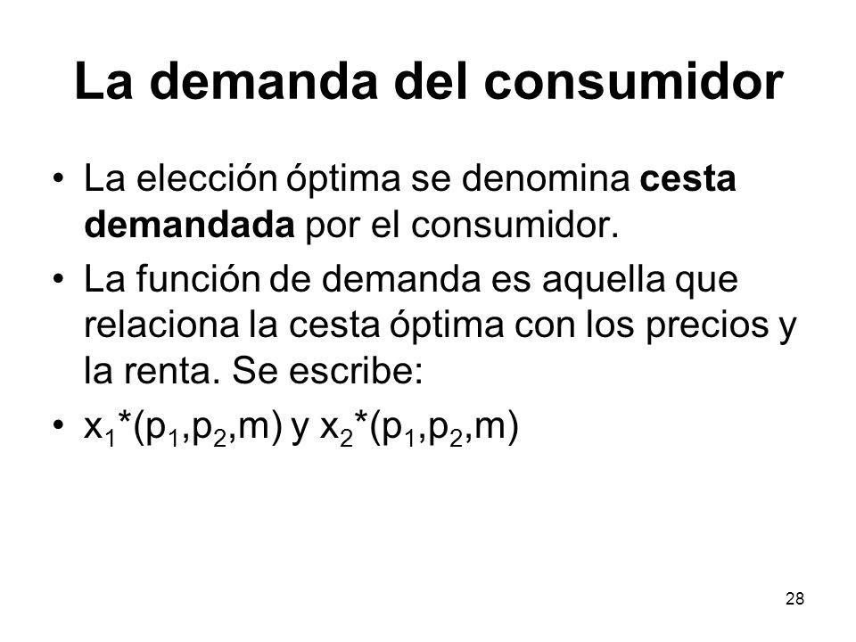 28 La demanda del consumidor La elección óptima se denomina cesta demandada por el consumidor. La función de demanda es aquella que relaciona la cesta