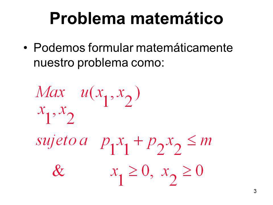 3 Problema matemático Podemos formular matemáticamente nuestro problema como: