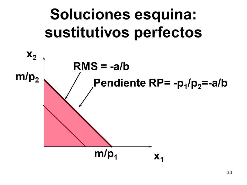 34 Soluciones esquina: sustitutivos perfectos x1x1 x2x2 RMS = -a/b Pendiente RP= -p 1 /p 2 =-a/b m/p 2 m/p 1