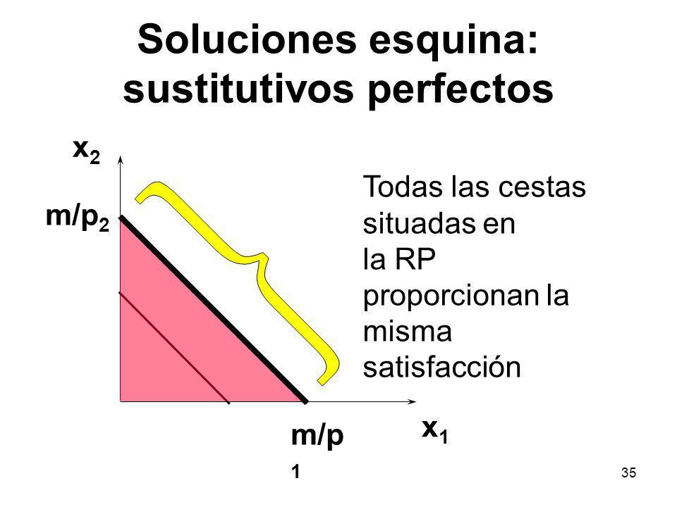 35 Soluciones esquina: sustitutivos perfectos x1x1 x2x2 Todas las cestas situadas en la RP proporcionan la misma satisfacción m/p 2 m/p 1