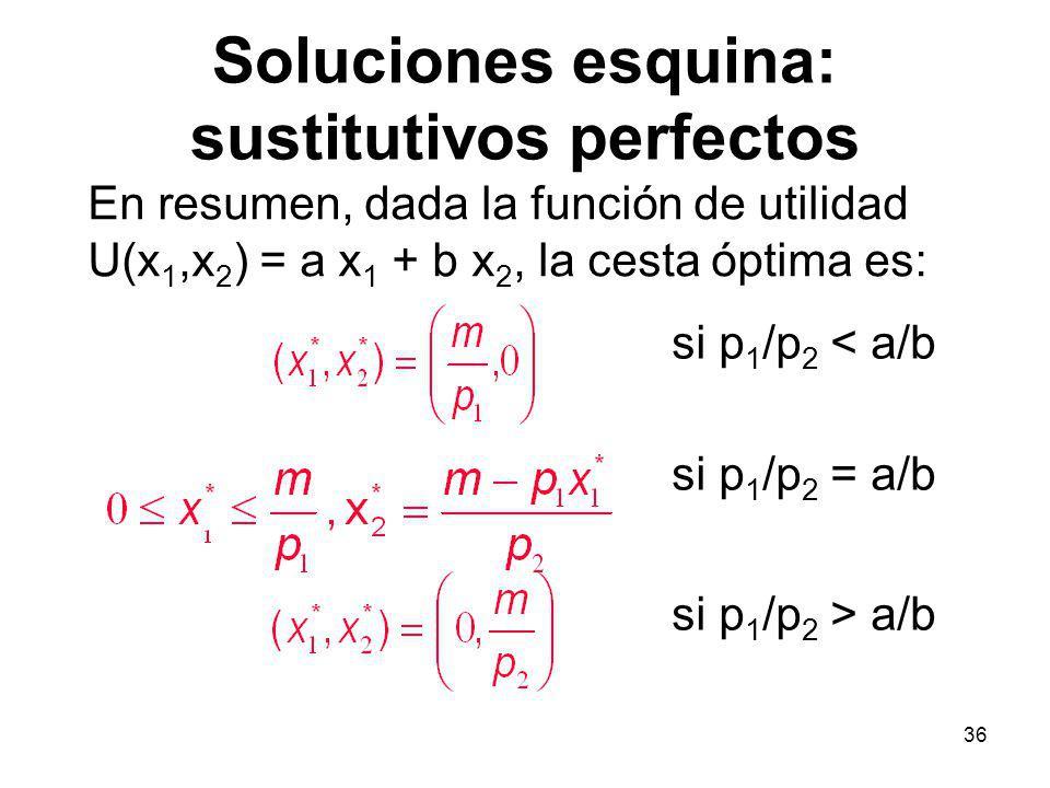 36 Soluciones esquina: sustitutivos perfectos En resumen, dada la función de utilidad U(x 1,x 2 ) = a x 1 + b x 2, la cesta óptima es: si p 1 /p 2 < a/b si p 1 /p 2 > a/b si p 1 /p 2 = a/b