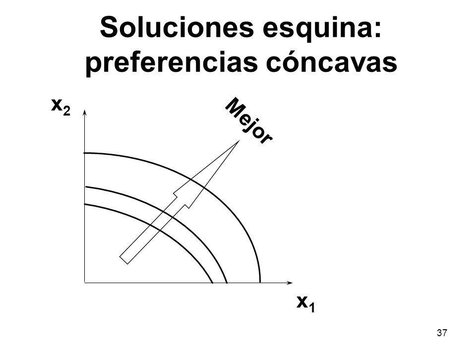 37 Soluciones esquina: preferencias cóncavas x1x1 x2x2 Mejor