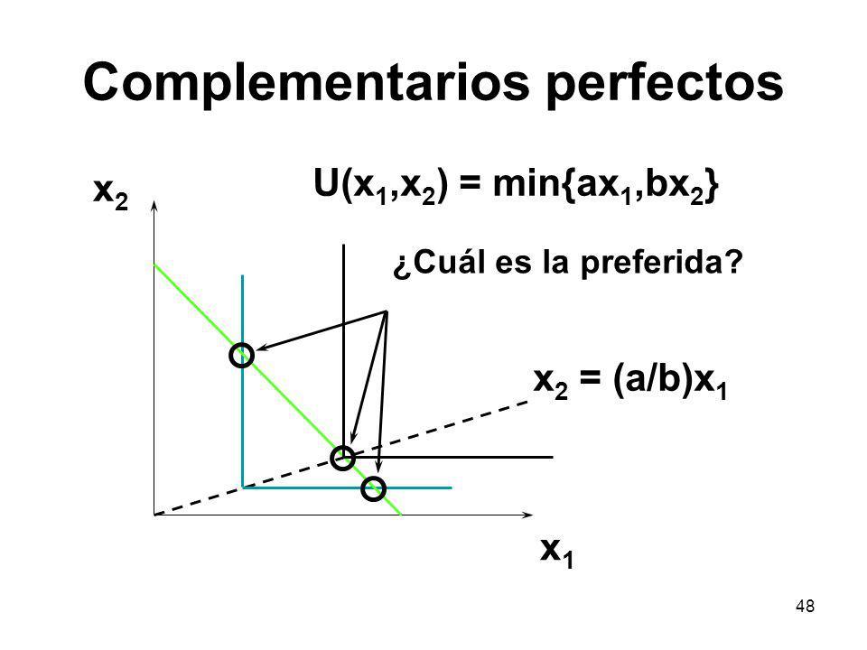 48 Complementarios perfectos x1x1 x2x2 U(x 1,x 2 ) = min{ax 1,bx 2 } x 2 = (a/b)x 1 ¿Cuál es la preferida?