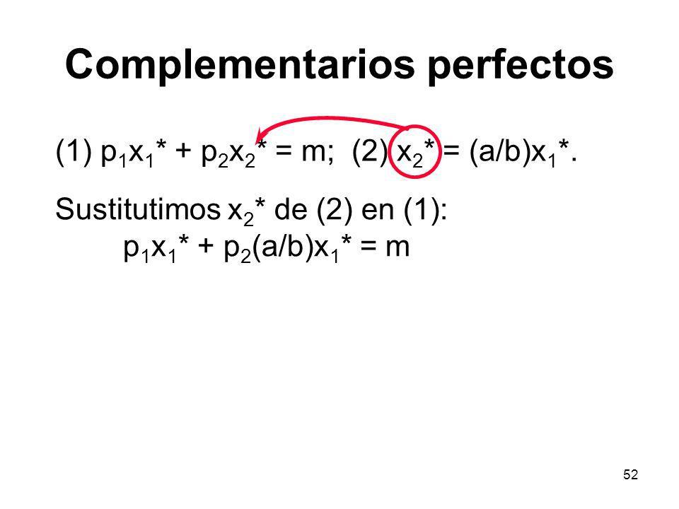 52 Complementarios perfectos (1) p 1 x 1 * + p 2 x 2 * = m; (2) x 2 * = (a/b)x 1 *. Sustitutimos x 2 * de (2) en (1): p 1 x 1 * + p 2 (a/b)x 1 * = m