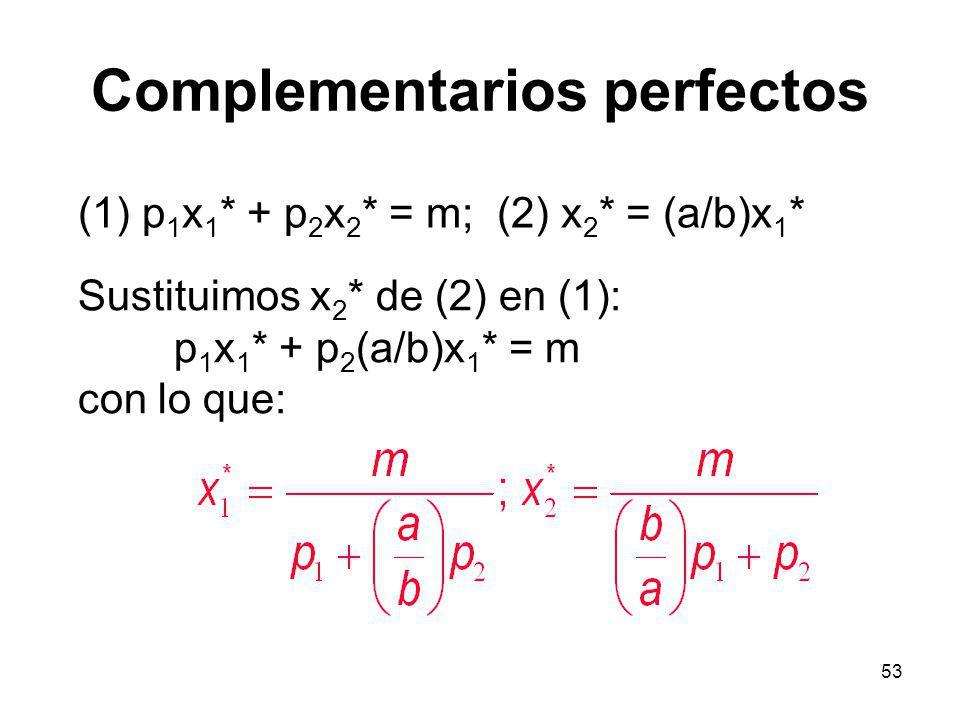 53 Complementarios perfectos (1) p 1 x 1 * + p 2 x 2 * = m; (2) x 2 * = (a/b)x 1 * Sustituimos x 2 * de (2) en (1): p 1 x 1 * + p 2 (a/b)x 1 * = m con lo que: