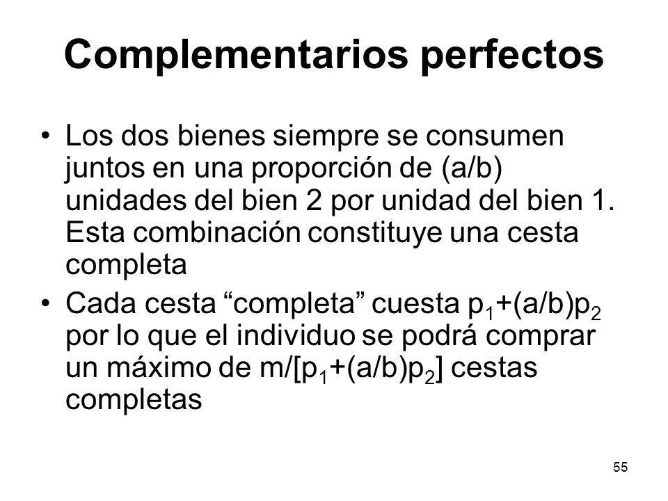 55 Complementarios perfectos Los dos bienes siempre se consumen juntos en una proporción de (a/b) unidades del bien 2 por unidad del bien 1. Esta comb
