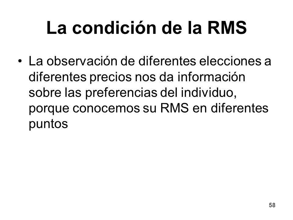 58 La condición de la RMS La observación de diferentes elecciones a diferentes precios nos da información sobre las preferencias del individuo, porque conocemos su RMS en diferentes puntos