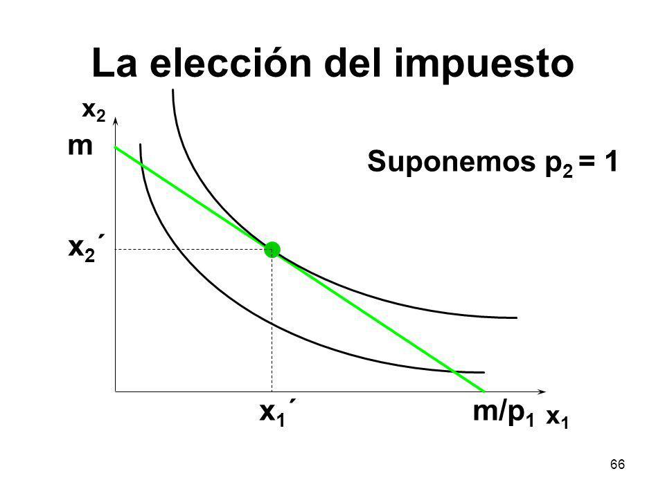 66 La elección del impuesto x2x2 x1x1 m/p 1 m x1´x1´ x2´x2´ Suponemos p 2 = 1