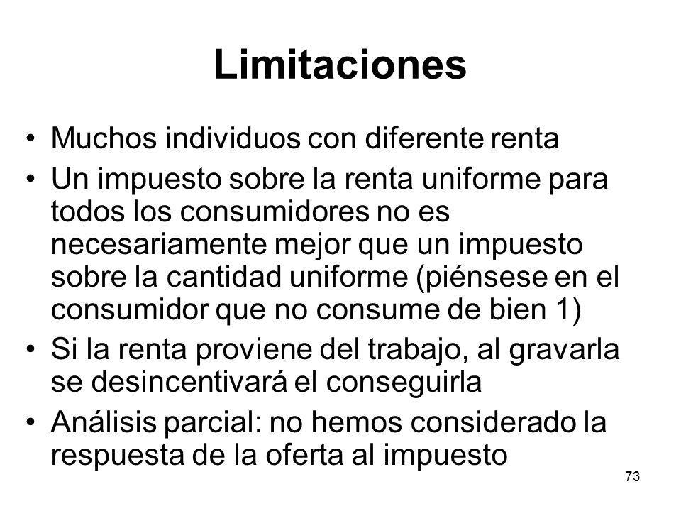 73 Limitaciones Muchos individuos con diferente renta Un impuesto sobre la renta uniforme para todos los consumidores no es necesariamente mejor que u