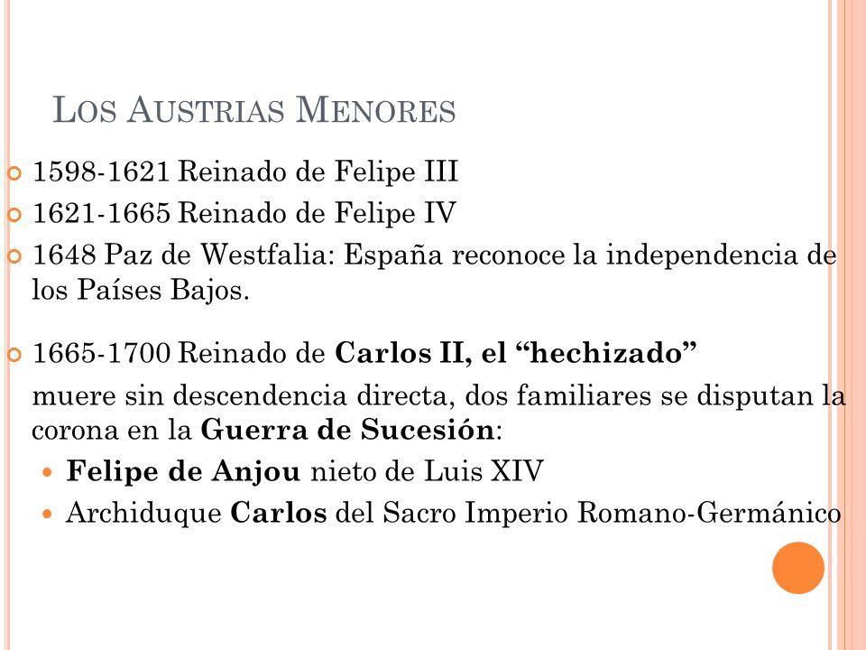 L OS A USTRIAS M ENORES 1598-1621 Reinado de Felipe III 1621-1665 Reinado de Felipe IV 1648 Paz de Westfalia: España reconoce la independencia de los