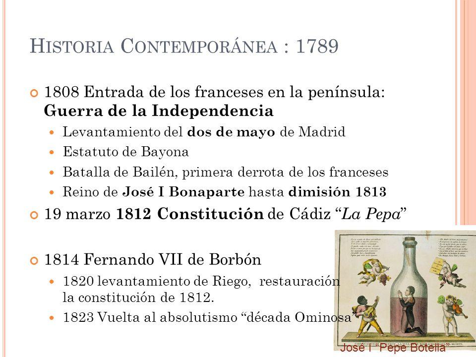 H ISTORIA C ONTEMPORÁNEA : 1789 1808 Entrada de los franceses en la península: Guerra de la Independencia Levantamiento del dos de mayo de Madrid Esta