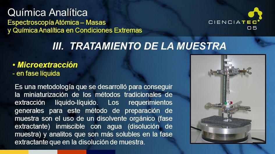 Es una metodología que se desarrolló para conseguir la miniaturización de los métodos tradicionales de extracción líquido-líquido. Los requerimientos