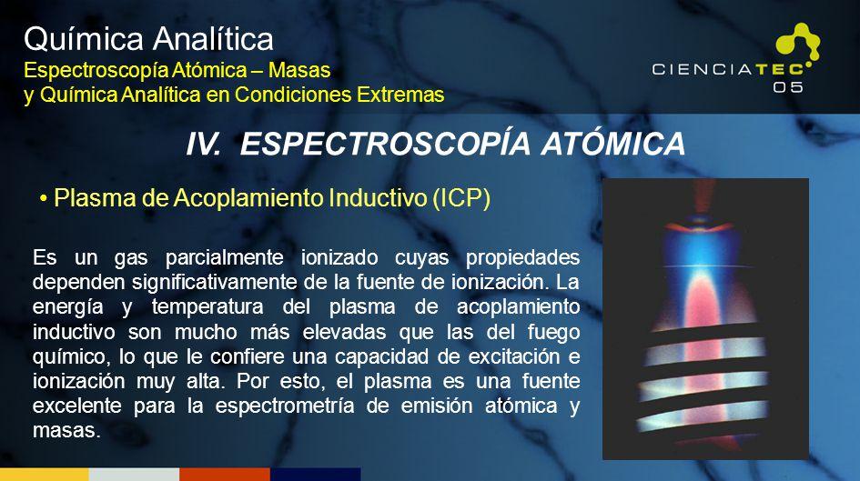 Química Analítica Espectroscopía Atómica – Masas y Química Analítica en Condiciones Extremas IV. ESPECTROSCOPÍA ATÓMICA Plasma de Acoplamiento Inducti