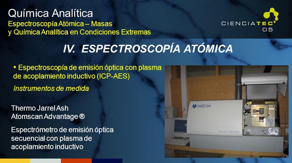 Química Analítica Espectroscopía Atómica – Masas y Química Analítica en Condiciones Extremas IV. ESPECTROSCOPÍA ATÓMICA Espectroscopía de emisión ópti